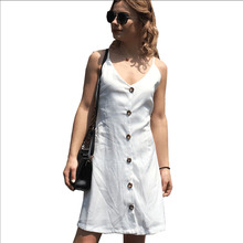 SUOGRY Hot New Style Sexy Strap Dress V Collar Back Tie Single-Breasted