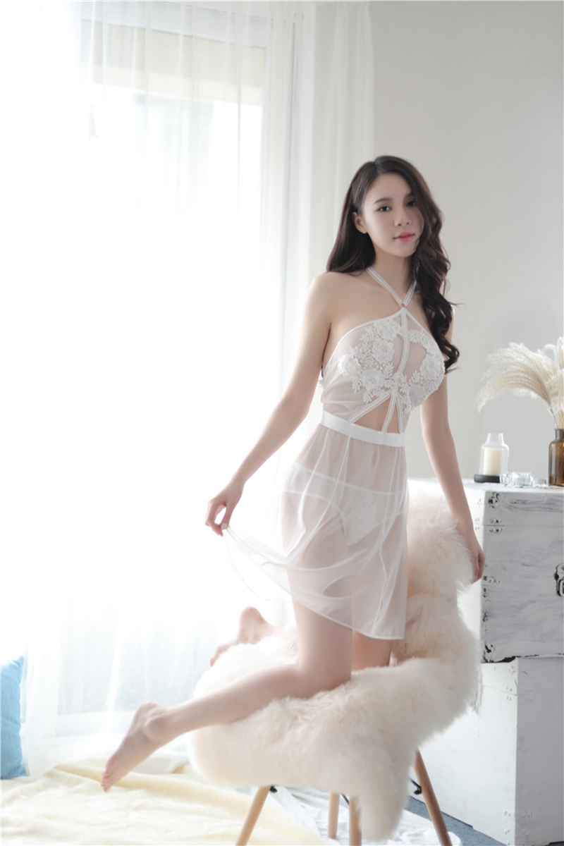 7758b5cb247 Elegant See-Through Lace Backless Nightdress - Women Style Store