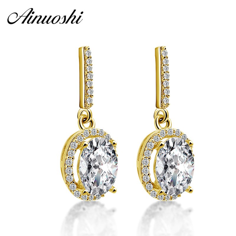 AINUOSHI 10K Yellow Gold Oval Drop Earrings 2.5 Carat Oval Cut Gold Click Back Earrings Fine Pierced Earring Jewelry for Women faux pearl rhinestoned oval drop earrings