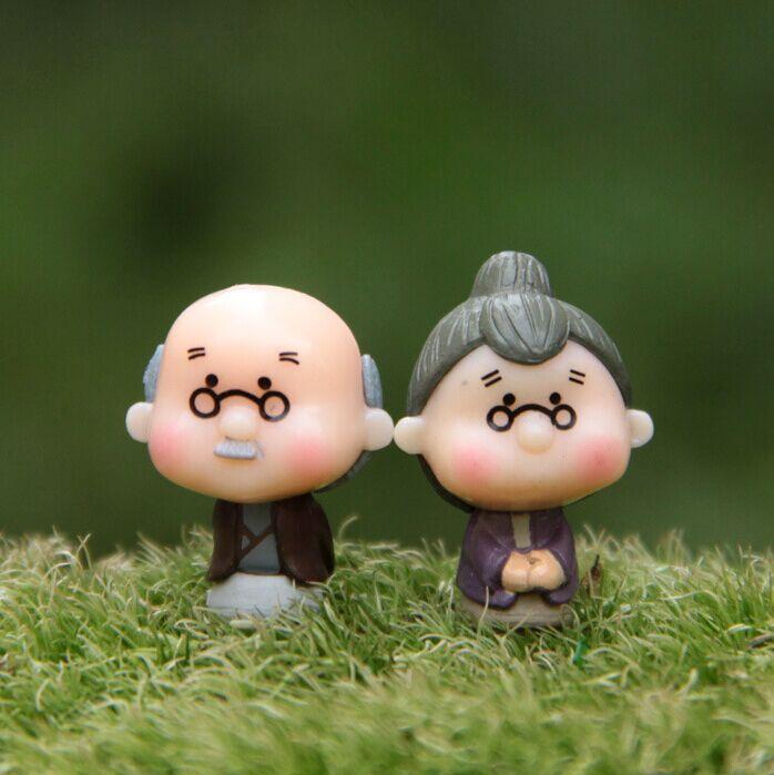 Cute Cartoon Romantic Love Story Everlasting Grandpa Grandma Doll