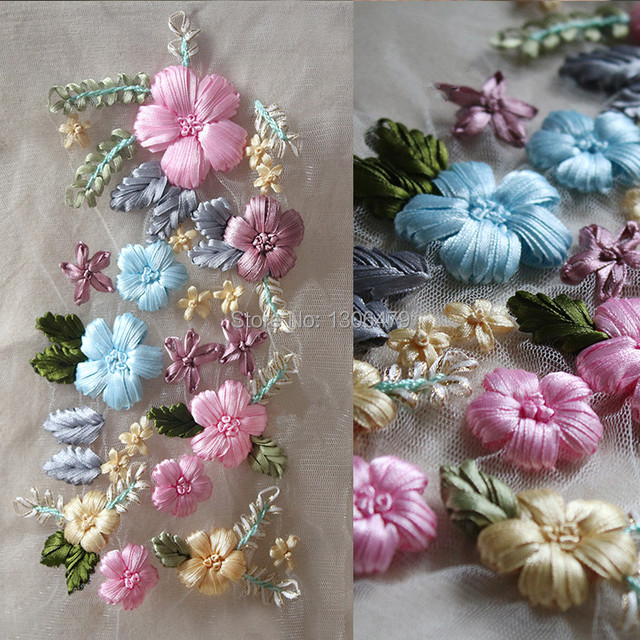 Ribbon Embroidery Embroidery Three Dimensional Flowers Clothing
