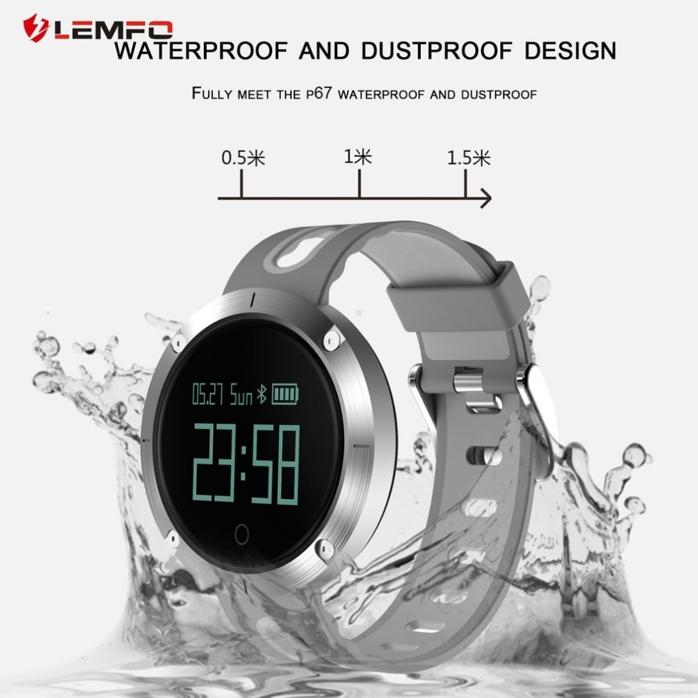 LEMFO T1 Heart Rate Blood Pressure Monitoring Smart Watch Step Counter Calorie Distance Tracker Gesture Activated Screen multifunction pulse heart rate calorie wrist watch silver black