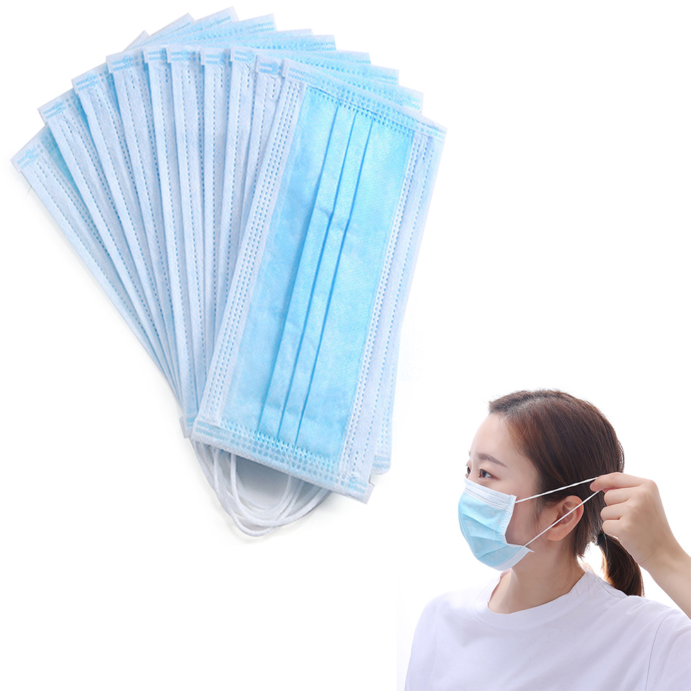 10pcs/pack Black Solid Color Disposable Face Mask 3 Layer Medical Dental Earloop Activated Carbon Anti-dust Face Surgical Masks