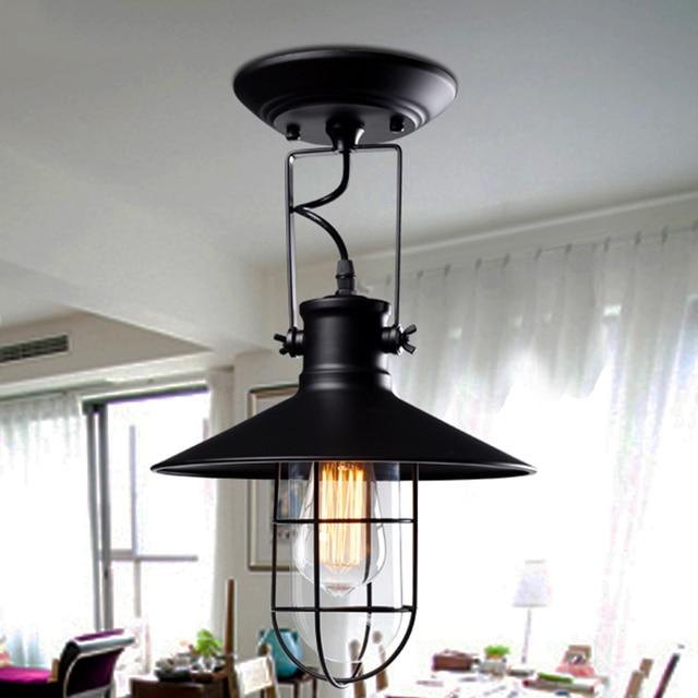 Village retro ceiling lights corridor balcony loft lamp iron spray painting process glass lamp shade bulb