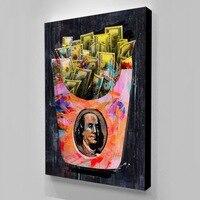 Современные картины на холсте, настенные художественные чипы, плакаты о деньгах, картины на холсте, плакаты, декор для комнаты, квадраты, Пря...