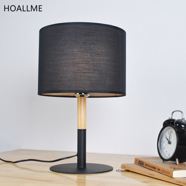 Modern Brief Table Lamp Wood Base Fabric Lampshade Living Room Bedroom Wooden Table Lamps Fixtures Lamparas