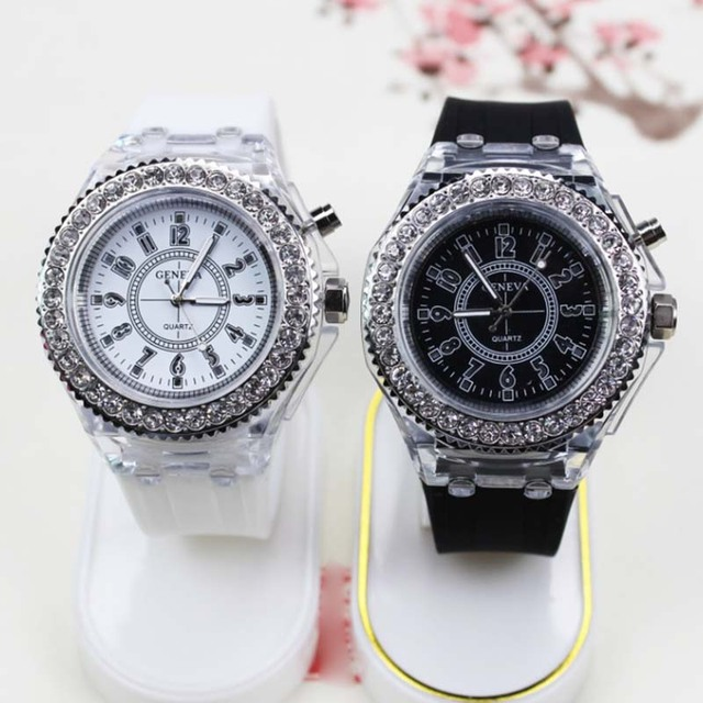 Quartz Wrist Watch LED Luminous Clear Rubber Case Silicone Band Casual Watches C