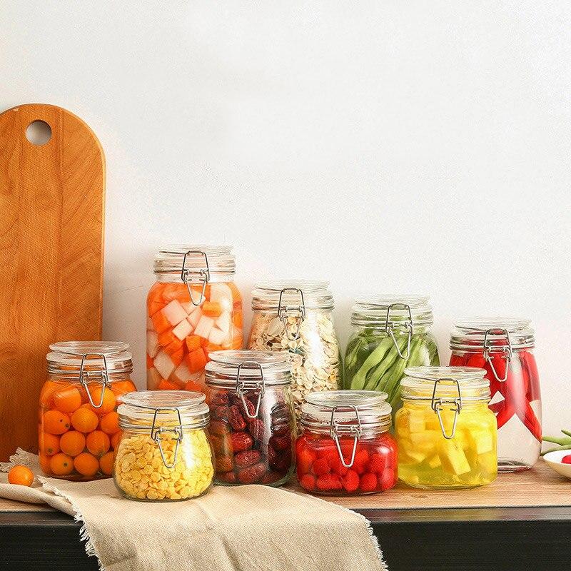 1pc Creative Transparent Sealed Can Food Storage Jar Kitchen Condiment Glass Jar Cereals Tea Food Honey Storage Bottle Container