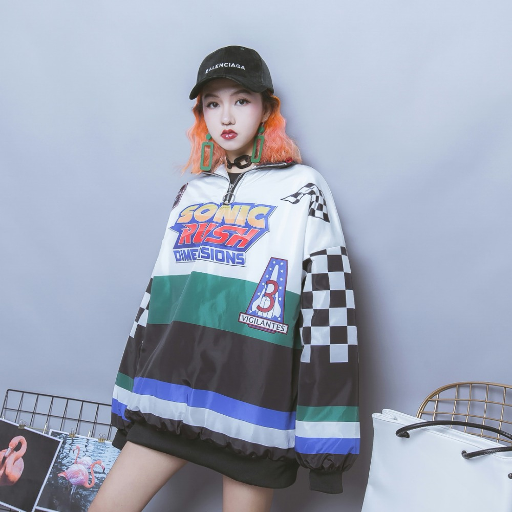 Objective Jasmine Harajuku Hip-hop Color Lattice Letter Racer Bf Oversize Cool Loose Cotton Men And Women Coat Durable Service