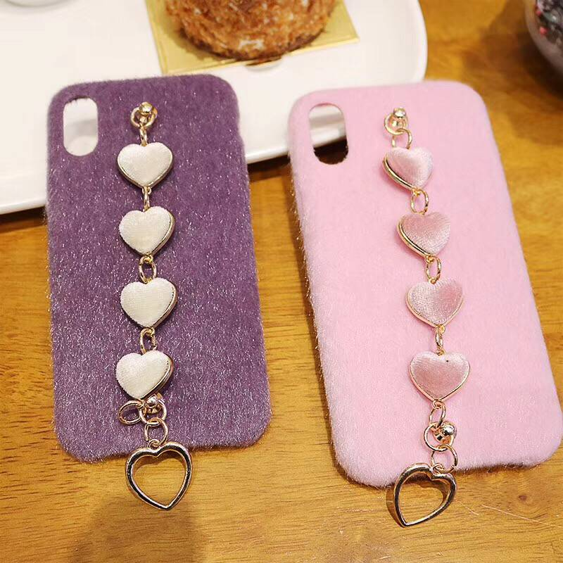 Fancy Luxury furry phone case for iphone xr xs max x soft heart chain bracelet cover for iphone 8plus 8 7plus 7 6plus 6 6s plus
