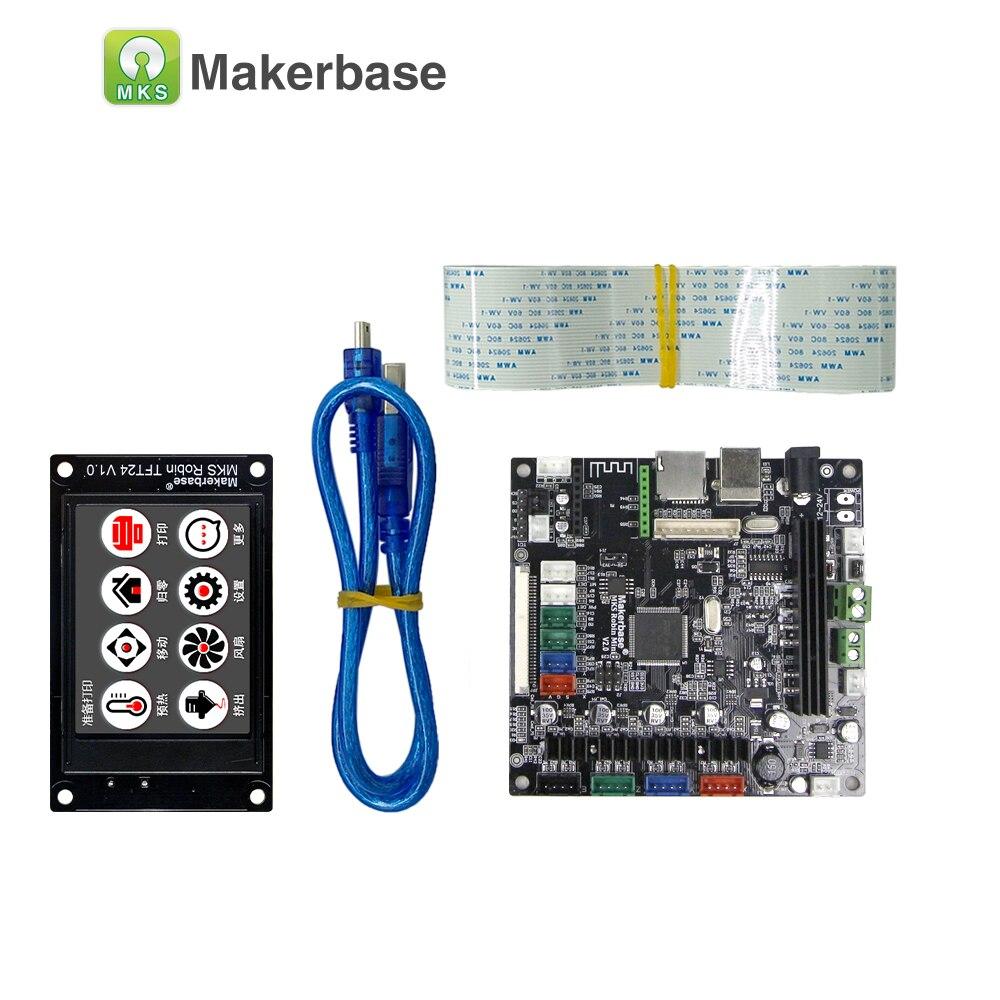 Carte d'imprimante 3D MAKERBASE STM32 MKS Robin mini avec écran TFT 2.4 pouces support logiciel à source fermée arrêt automatique à bord - 3