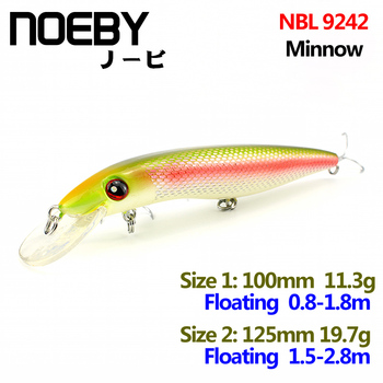 NOEBY 1 Pcs Fishing Lure 100mm/11.3g 125mm/19.7g Floating Super Minnow Lures Fishing Bait VMC Hooks 3D Eyes NBL 9242