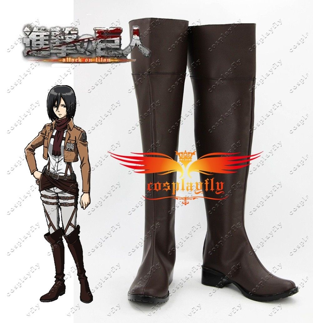 Attack on Titan Brown Cosplay Shoes Boots For Mikasa Ackerman Levi Eren Jaeger Costume Custom Made  Adult Halloween Carnival
