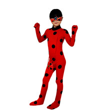 Adult Kids Miraculous Ladybug Costume with Wig Bag Halloween Party Girls Suit Spandex Onesie Miraculous Lady bug Cosplay Costume