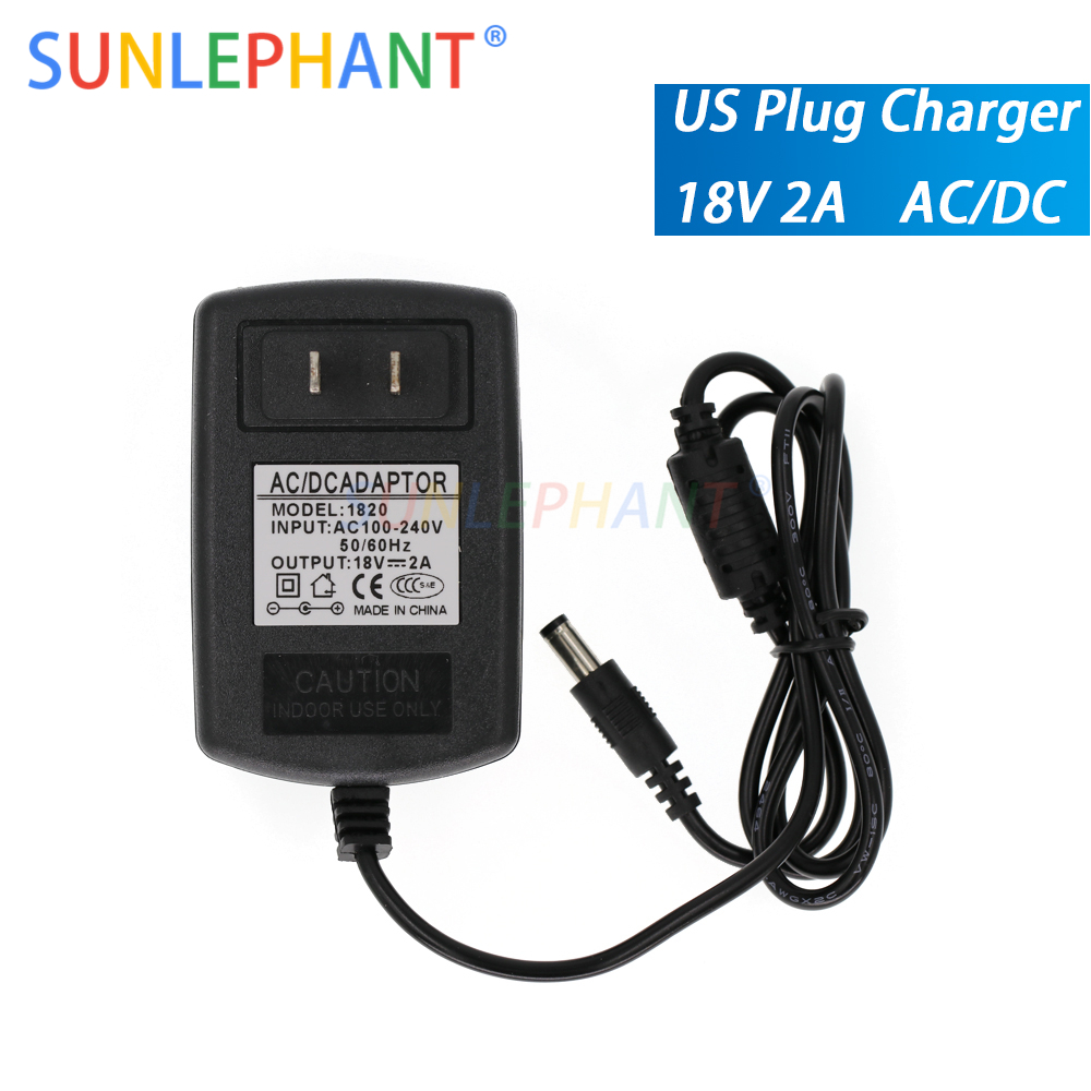 1pcs <font><b>100</b></font>-240V AC to <font><b>DC</b></font> Power Adapter Supply Charger adapter 18V 2A US Plug 5.5mm x 2.5mm <font><b>DC</b></font> Plug Micro USB image