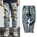 Europa estilo blanco hueso marea marca hombres pantalones de Mezclilla de lavado con agua molino de rayas desgaste bordado hip hop men's jeans pantalones basculador