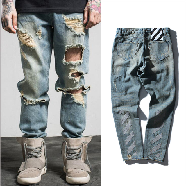 974e5542 Europe style off white tide brand Denim pants men water washing mill wear  striped embroidery hip