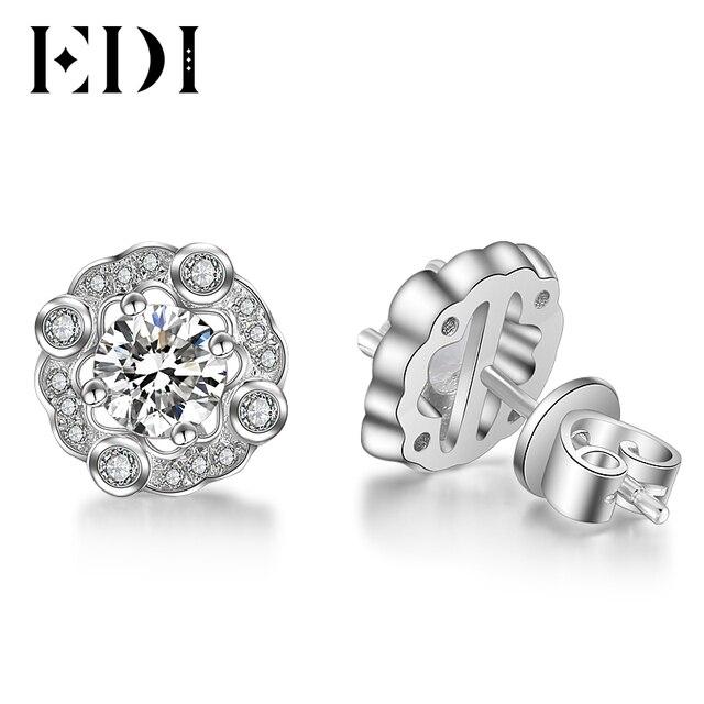 Edi Forever Brilliant 0 5ct Round Cut Moissanite Diamond Stud Earrings For Women 14k 585 White