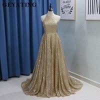 Sparkling Gold Champagne Sequins Prom Dress Dubai Halter Off The Shoulder Yousef Aljasmi Arabic Evening Dresses