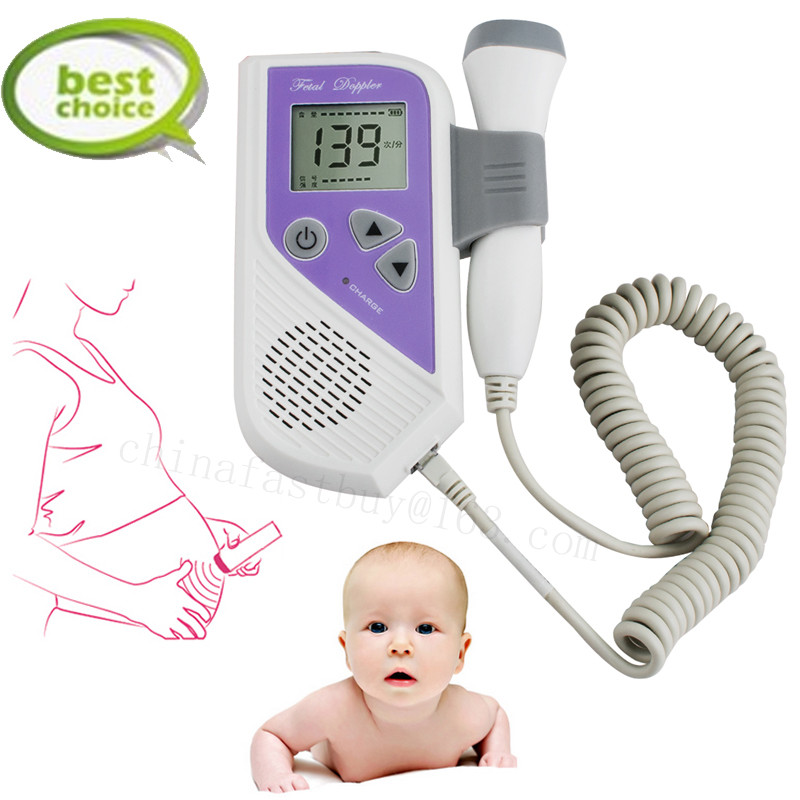 Fetal Doppler Portable 2.5MHz Probe LCD Ultrasound Prenatal Detector Fetal Baby Heart Rate Monitor Fetal Doppler In Baby Monitor portable 5 7 color lcd fetal maternal monitor fetal monitor twins monitor bfm 700