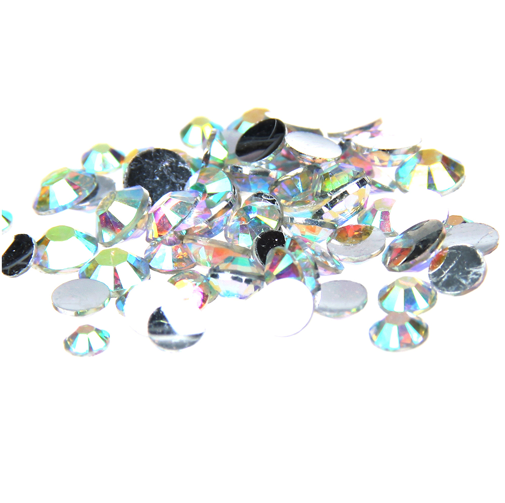 5mm Crystal AB Resin Rhinestones Flatback With Silver Backing Strass Round Shape Glue On Diamante DIY Craft Garments Accessories resin rhinestones pink ab color 2mm 6mm 10000 50000pcs round flatback glue on strass beads for jewelry making diy decorations