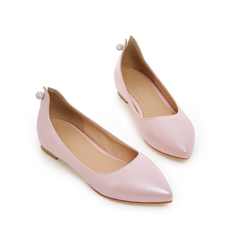 Solo Mujeres 33 45 Asumer Grande Pie Zapatos blanco 2018 Negro Planos De rosado Dedo Puntiagudo Nuevos Las Cuatro Cuero Tamaño Del Contratado rojo Un Estaciones Suave qqaPX