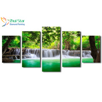 Zhui Star 5D DIY Full Square Drill Diamond Drawing Cross Stitch Forest Small Lake 5pcs Embroidery