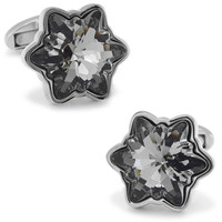 SPARTA black snowflake crystal cufflinks Plated with White Gold men's Cuff Links + Free Shipping !!! DM