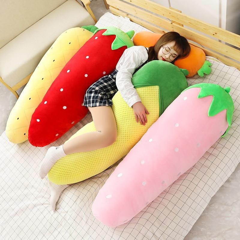 Kawaii carotte détachable oreiller géant en peluche jouet fraise maïs fruit dormir long câlin oreiller fille poupée cadeau 47 pouces 120 cm-in Plantes en peluche from Jeux et loisirs    1