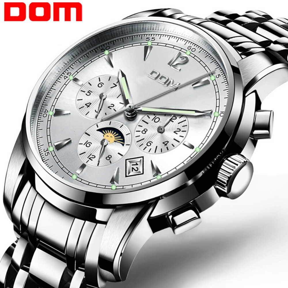 DOM Mechanical Men Watch Moon Phase Top Brand Luxury Stylish Waterproof Stainless Steel Business Automatic Montre Homme M-75