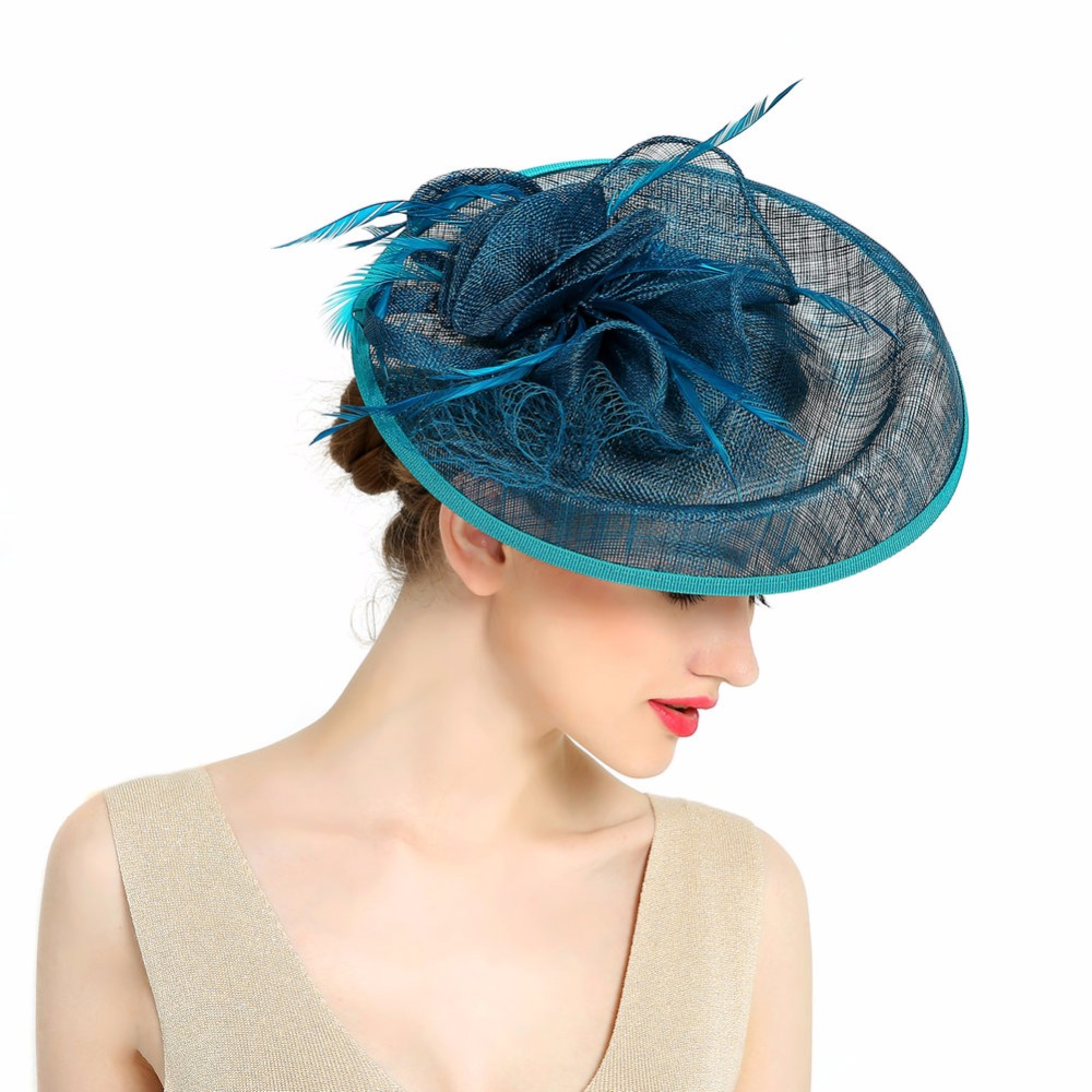 New 2016 Elegant Ladies Sinamay Wedding Fascinator Hats Bridal Cocktail Hats with Feather For