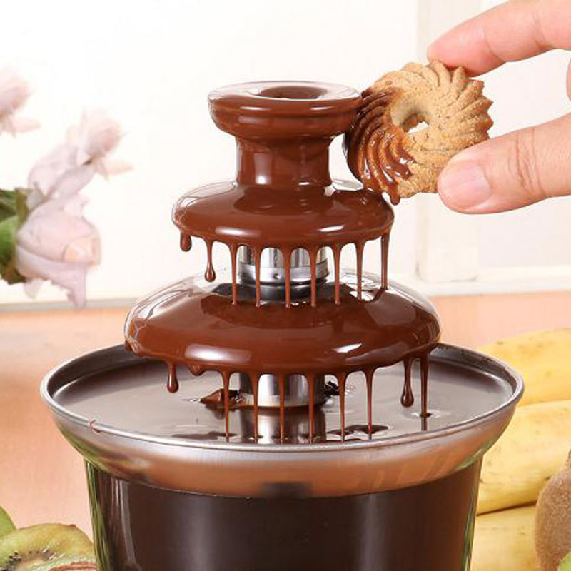 220V 3 Tier Mini Heating Chocolate Fountains Household DIY Chocolate Waterfall Machine For Home Using Party недорого