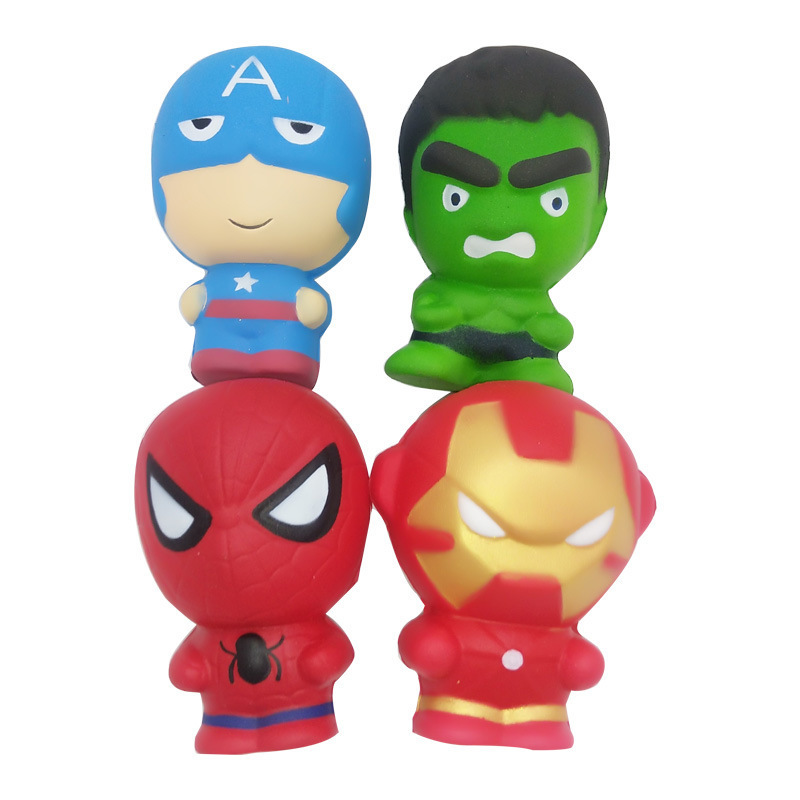Free Shipping Super Hero Squishy Slow Rising Toys Soft PU Iron Man Spiderman Hulk Squishies Stress Relief Toys For Children #TC