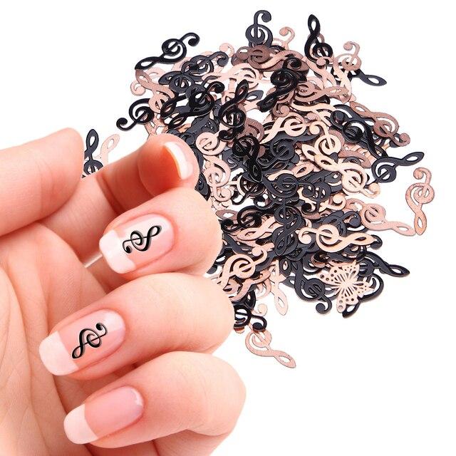 1 Box Nail Stickers 3d Nail Art Stickers Muziek Note Salon Metalen