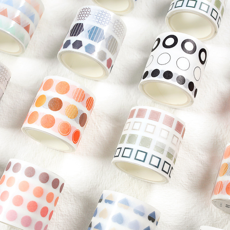 40mm*3m Kawaii Cute Round Square Hexagon Washi Tape Stickers Scrapbooking DIY Masking Tape School Supplies Bullet Journal Sl1749