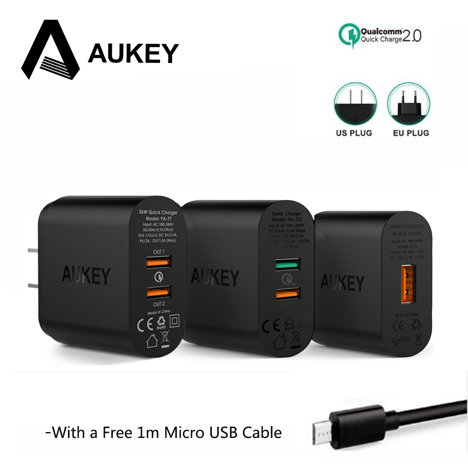 AUKEY Quick Charge QC 2.0 USB Charger Wall Fast Charger Universal Mobile Phone Travel Charger For Samsung Galaxy s8 For Xiaomi 5