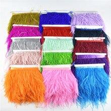 1 м 10-15 см обрезки страусовых перьев для юбки/платья Белый Черный страусиные перья ленты перо для рукоделия оперение одежды