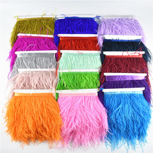 1 Meters 10-15CM Ostrich Feather Trims for Skirt/dress White Black Feathers Ribbon Crafts Plumage Clothing