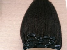 7A Virgin Brazilian Kinky Straight Clip In Human Hair Extensions 1B# 7Pcs 120g Clip on Hair Real Virgin Human Hair