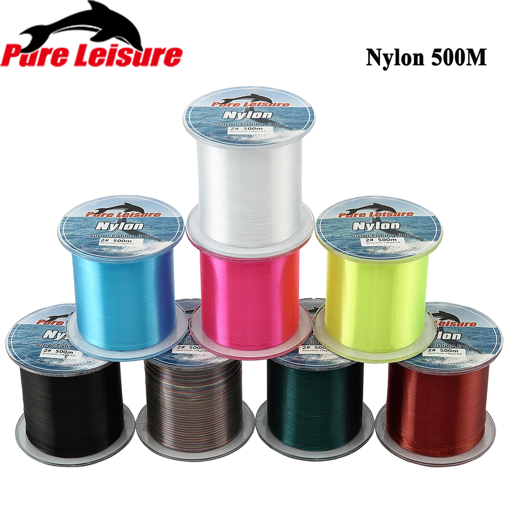 Offre spéciale 500m PureLeisure Nylon Pesca Super forte japon Nylon ligne De pêche Monofilament 500m Fil De pêche Nylon Fluorocarbone