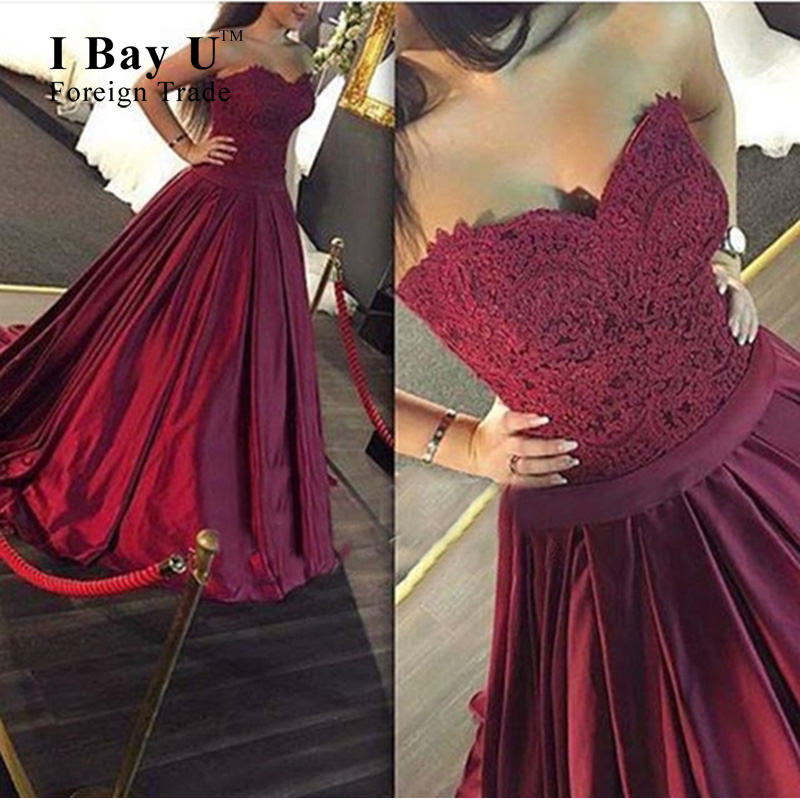 Image 2 - I Bay U Maroon Lace Sweetheart Applique Formal Gowns Sexy Backless Satin A Line Evening Dress Elegant Evening Lace Dresses Longgown manufacturersdress doradress pants for boys -