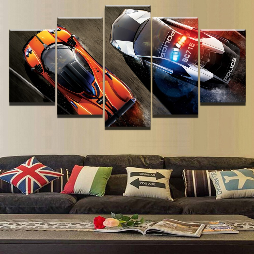 High Quality Canvas HD Printed Painting 5 Panel Cartoon Game Need For Speed Wall Art Picture For Living Room Home Decorative image
