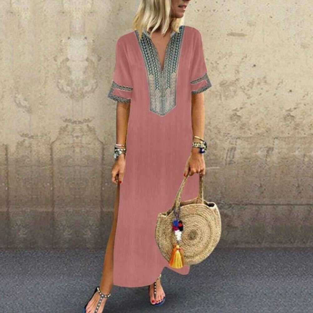 2019 Ethnic Long Dress Women Split Maxi Loose Summer Casual Dress Casual Evening Party Beach Kaftan Full Dresses Plus Szie 5XL