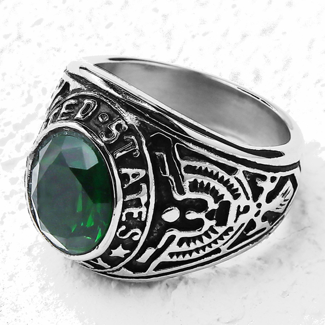 Stainless Steel 20mm Army Ring With Cubic Zirconia Stone For Men Fashion Rings