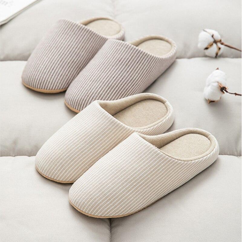 Warm Winter Shoes Woman Cotton Linen Home Slippers Women Floor Flip Flops Anti-slip Fur Slides Indoor Slippers Pantoufle Femme
