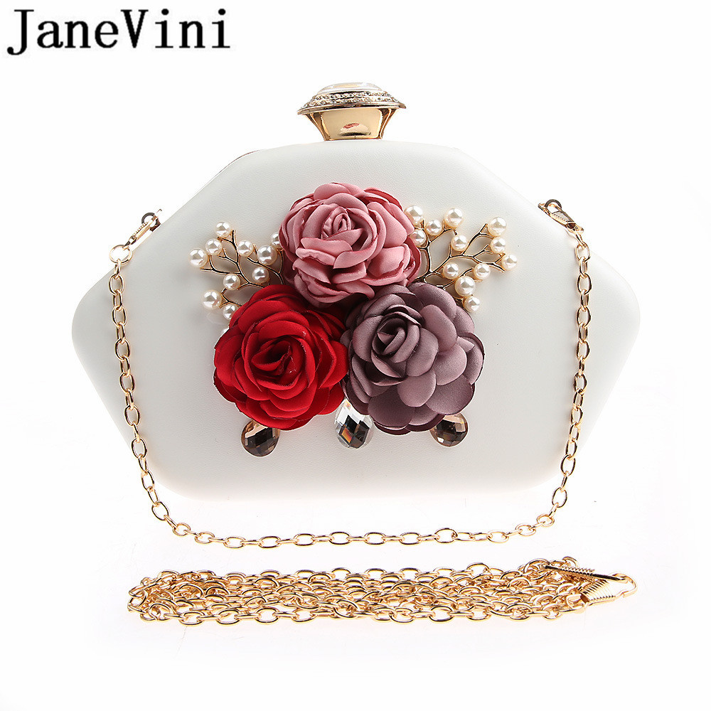 JaneVini 2019 Newest Women Bridal Bags Handmade Flowers Crystal Pearl Evening Prom Bags Shoulder Handbag Bride Clutch Gold Chain