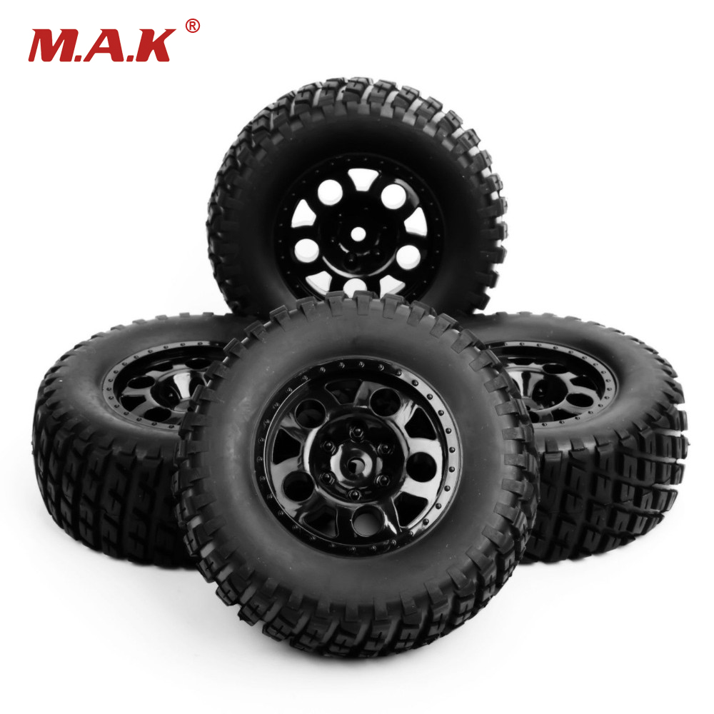 1/10 Scale RC Short Course Truck Tire & Wheel For TRAXXAS SlASH Car Model 4pc Set Accessory 1 10 hq727 v2 traxxas slash short course truck parts number m0220 chassis