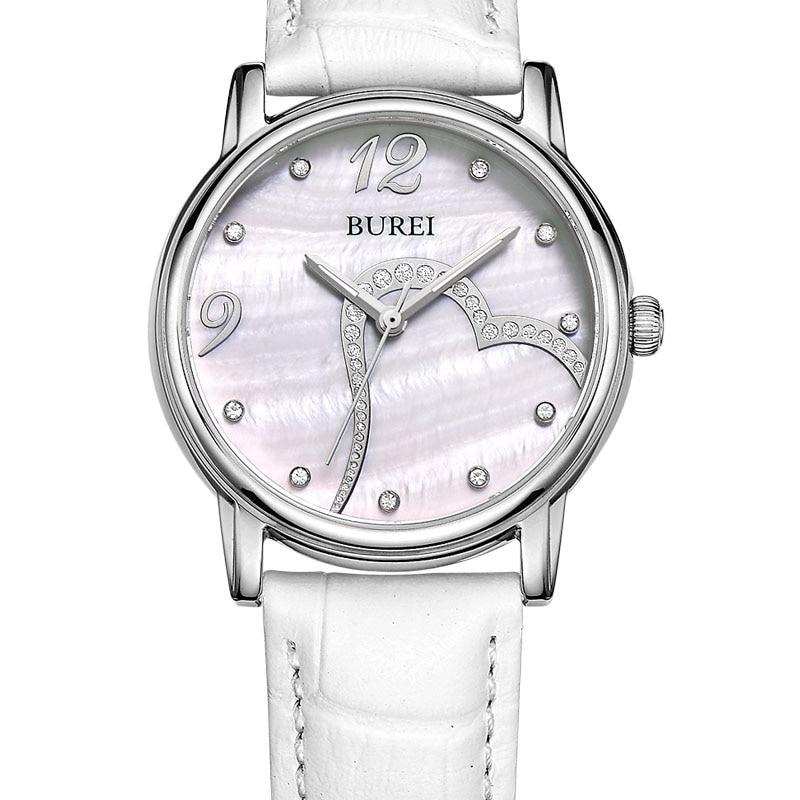 2017 New BUREI Brand Quartz Watch Diamonds women Crystal Casual Watches ladies heart dress watch female leather Business clock burei fashion dual heart shaped women quartz watch