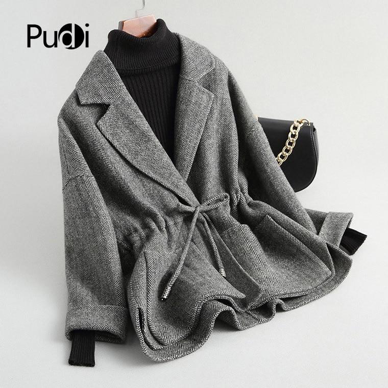 PUDI RO18101 2018 Women Fall Winter new wool herringbone jacket with long style pocket leisure coat