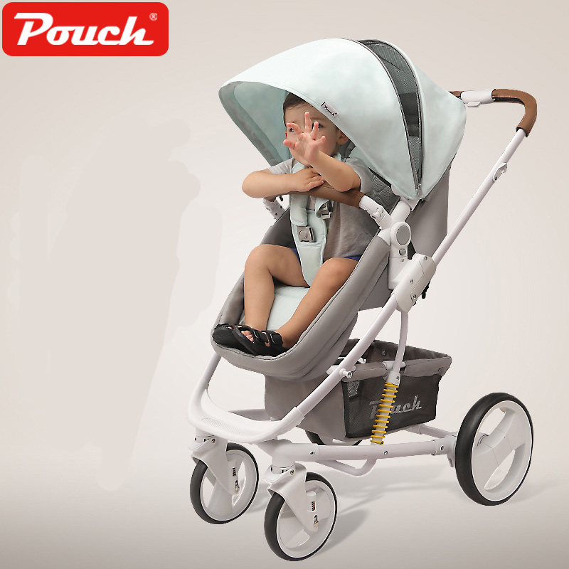 Pouch Baby Cart, High Landscape, Can Sit, Lie, Two-way Child Cart, Foldable Baby Stroller high landscape suspension stroller four wheel two way light folding sit lie baby cart